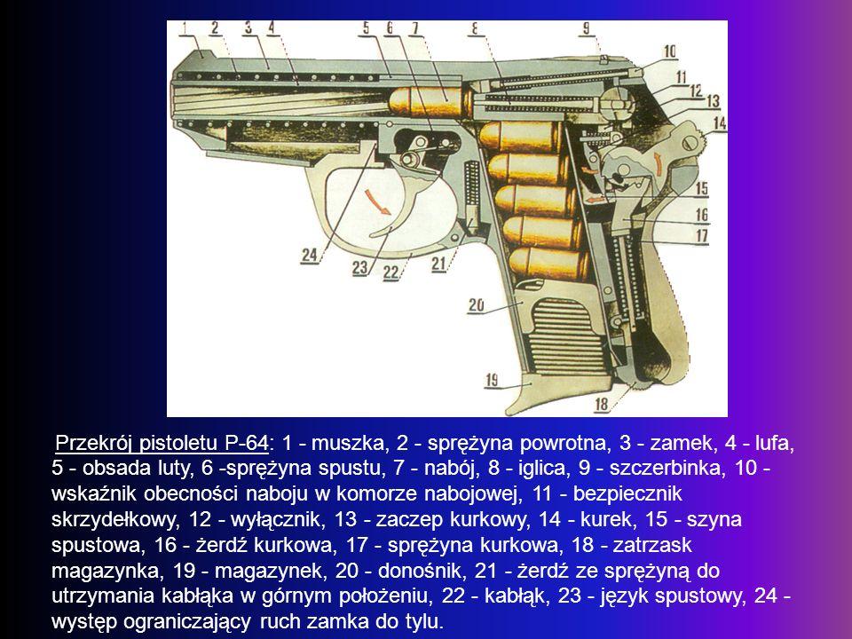 Przekrój pistoletu P-64: 1 - muszka, 2 - sprężyna powrotna, 3 - zamek, 4 - lufa, 5 - obsada luty, 6 -sprężyna spustu, 7 - nabój, 8 - iglica, 9 - szczerbinka, 10 - wskaźnik obecności naboju w komorze nabojowej, 11 - bezpiecznik skrzydełkowy, 12 - wyłącznik, 13 - zaczep kurkowy, 14 - kurek, 15 - szyna spustowa, 16 - żerdź kurkowa, 17 - sprężyna kurkowa, 18 - zatrzask magazynka, 19 - magazynek, 20 - donośnik, 21 - żerdź ze sprężyną do utrzymania kabłąka w górnym położeniu, 22 - kabłąk, 23 - język spustowy, 24 - występ ograniczający ruch zamka do tylu.