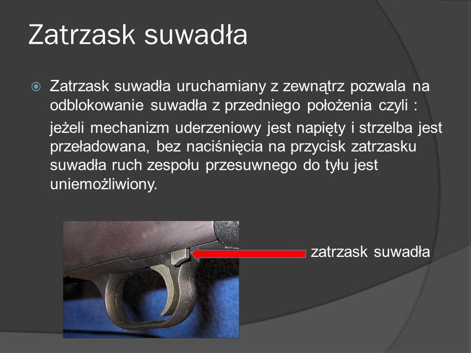 Zatrzask suwadła Zatrzask suwadła uruchamiany z zewnątrz pozwala na odblokowanie suwadła z przedniego położenia czyli :