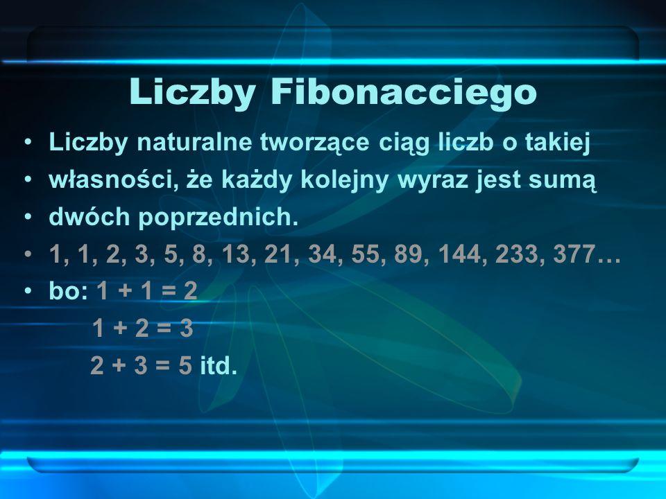 Liczby Fibonacciego Liczby naturalne tworzące ciąg liczb o takiej