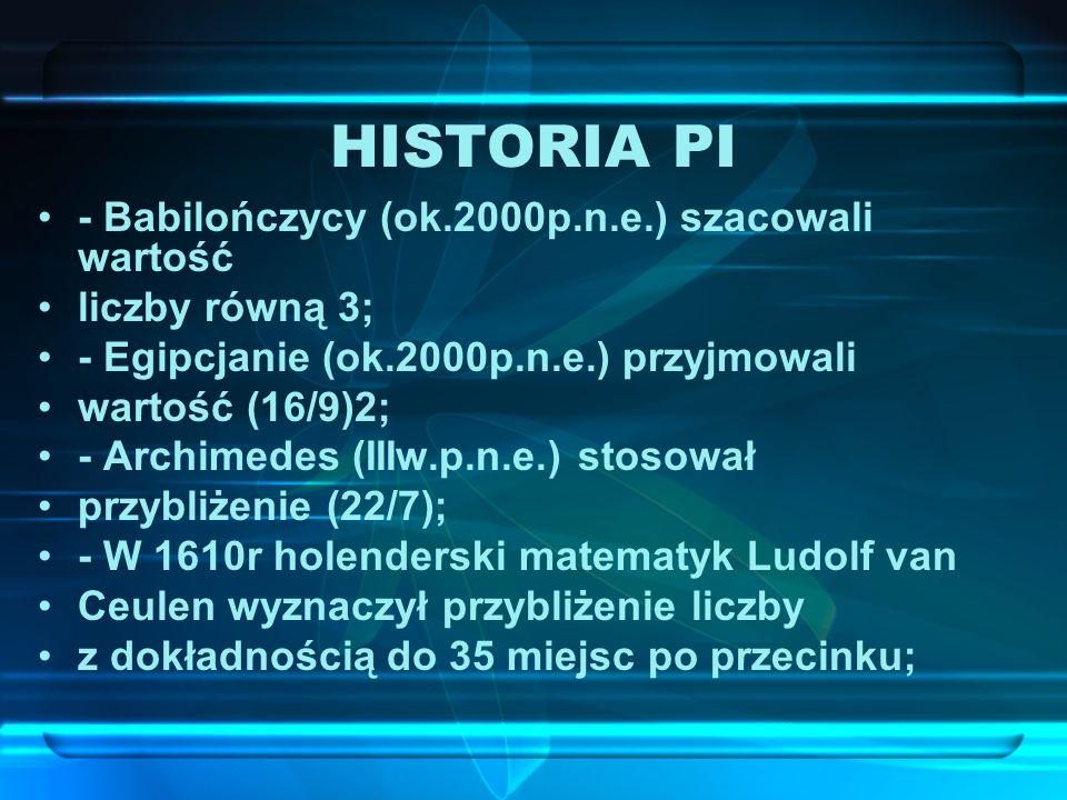 HISTORIA PI - Babilończycy (ok.2000p.n.e.) szacowali wartość