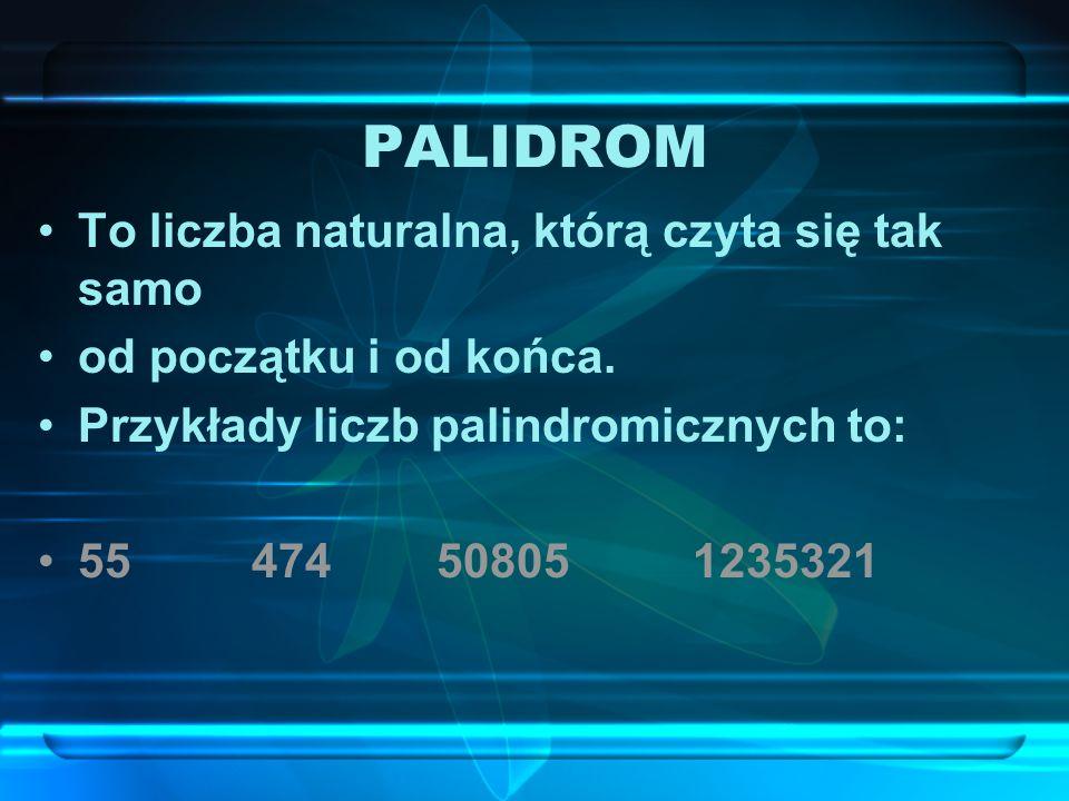 PALIDROM To liczba naturalna, którą czyta się tak samo