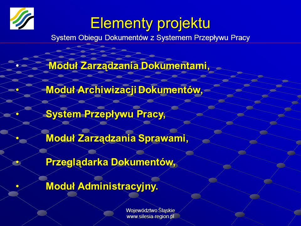 Elementy projektu System Obiegu Dokumentów z Systemem Przepływu Pracy