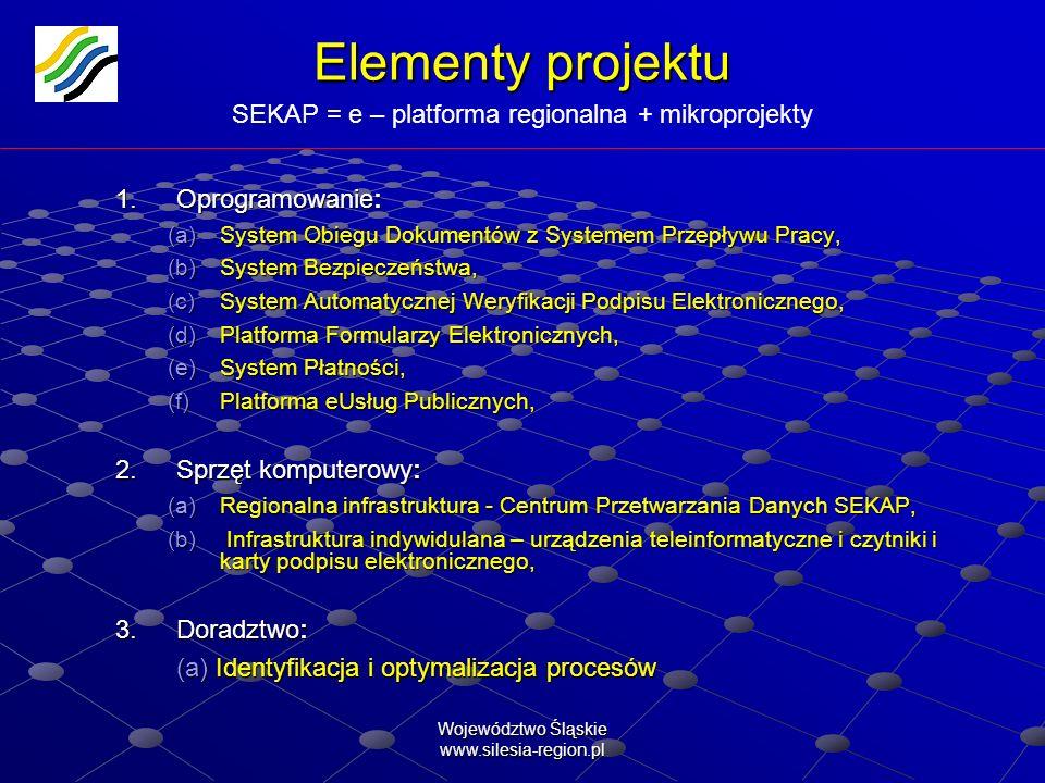 Elementy projektu SEKAP = e – platforma regionalna + mikroprojekty