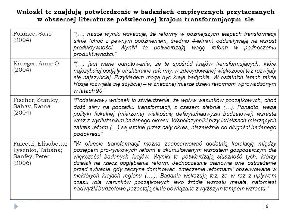 Wnioski te znajdują potwierdzenie w badaniach empirycznych przytaczanych w obszernej literaturze poświęconej krajom transformującym się