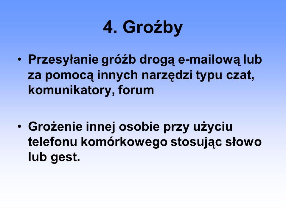 4. Groźby Przesyłanie gróźb drogą e-mailową lub za pomocą innych narzędzi typu czat, komunikatory, forum.