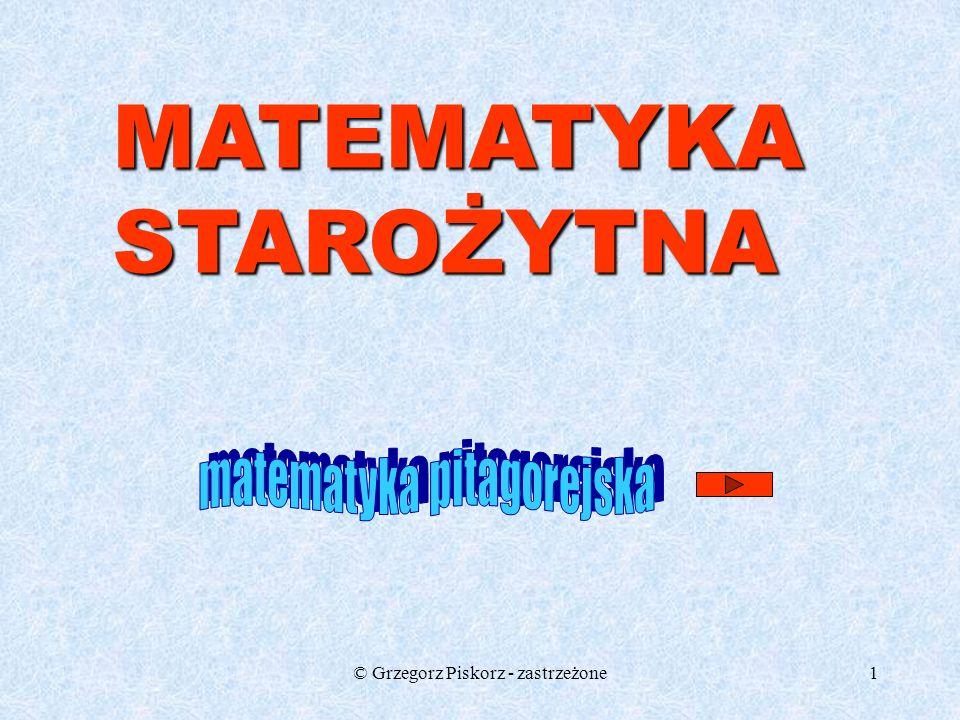 MATEMATYKA STAROŻYTNA matematyka pitagorejska
