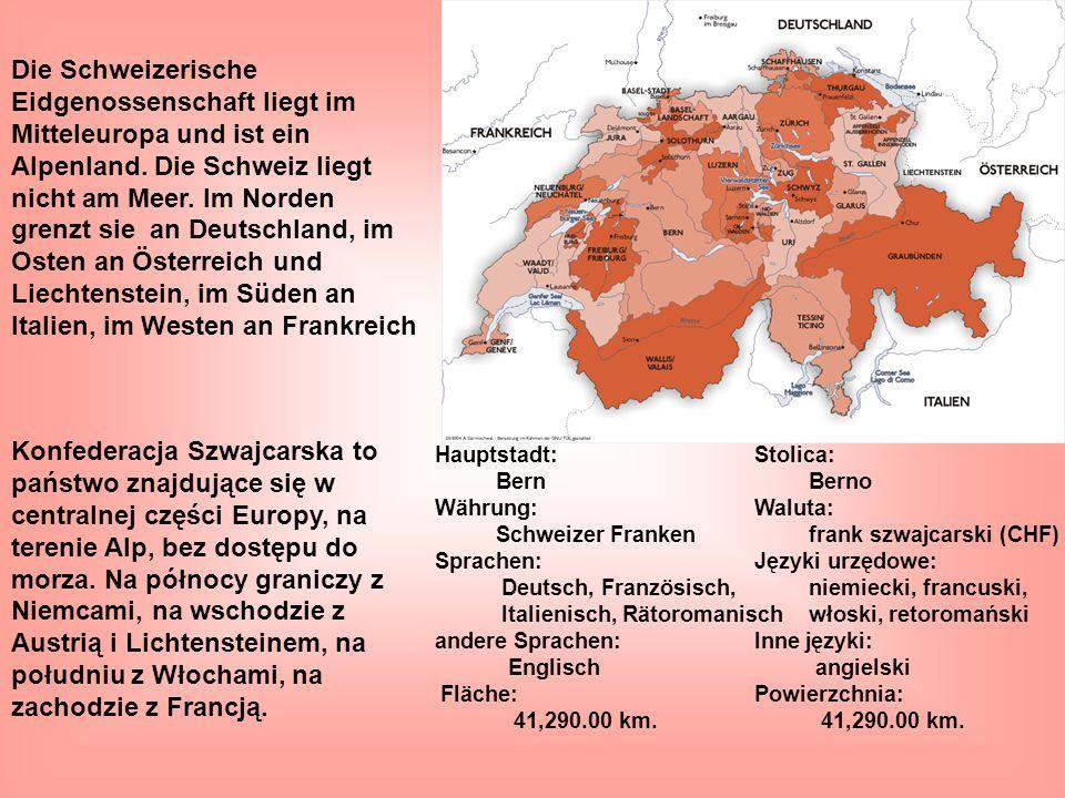 Die Schweizerische Eidgenossenschaft liegt im Mitteleuropa und ist ein Alpenland. Die Schweiz liegt nicht am Meer. Im Norden grenzt sie an Deutschland, im Osten an Österreich und Liechtenstein, im Süden an Italien, im Westen an Frankreich