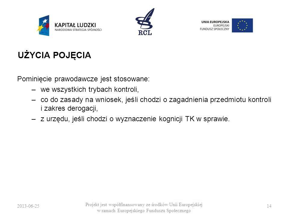 UŻYCIA POJĘCIA Pominięcie prawodawcze jest stosowane: