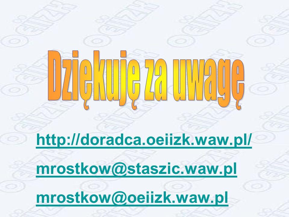 http://doradca.oeiizk.waw.pl/ mrostkow@staszic.waw.pl
