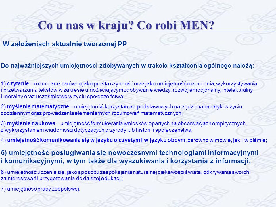 Co u nas w kraju Co robi MEN