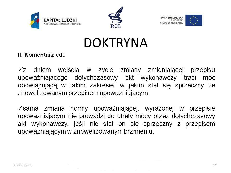 DOKTRYNA II. Komentarz cd.: