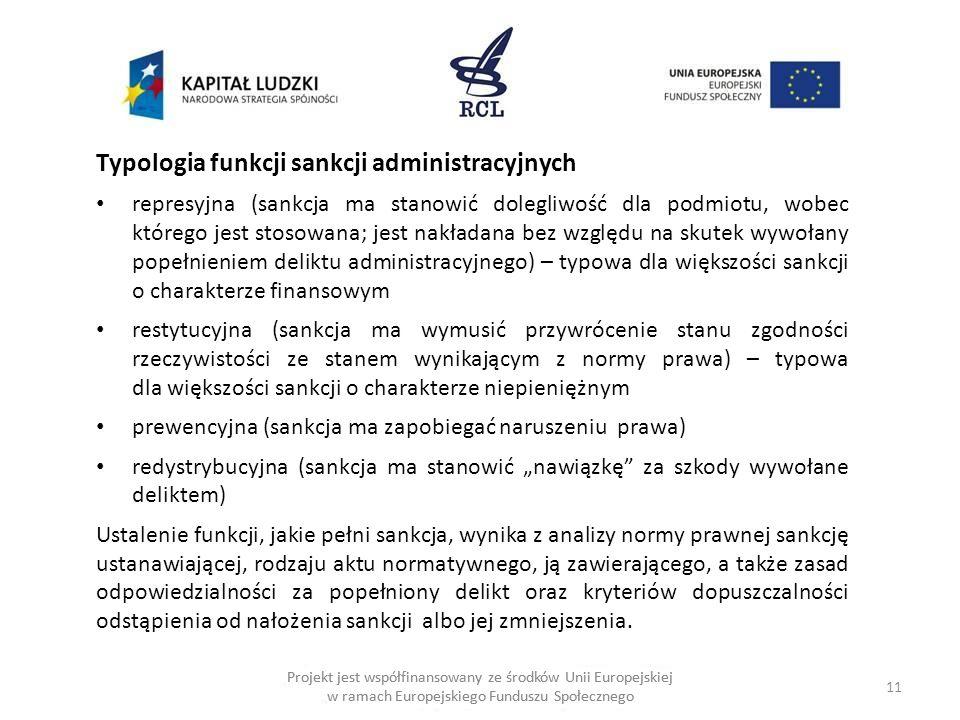Typologia funkcji sankcji administracyjnych