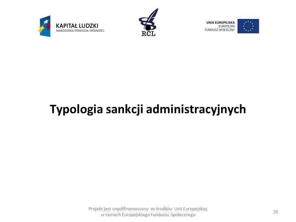 Typologia sankcji administracyjnych
