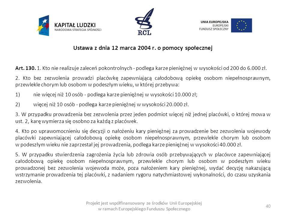 Ustawa z dnia 12 marca 2004 r. o pomocy społecznej