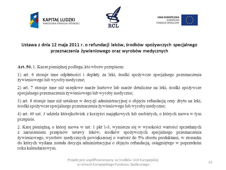 Ustawa z dnia 12 maja 2011 r. o refundacji leków, środków spożywczych specjalnego przeznaczenia żywieniowego oraz wyrobów medycznych