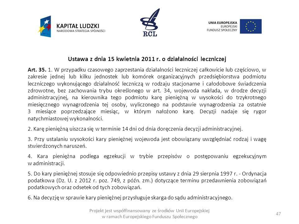 Ustawa z dnia 15 kwietnia 2011 r. o działalności leczniczej