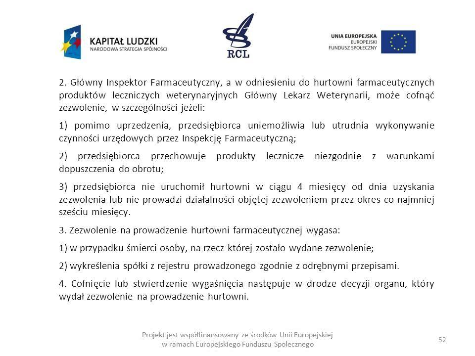 2. Główny Inspektor Farmaceutyczny, a w odniesieniu do hurtowni farmaceutycznych produktów leczniczych weterynaryjnych Główny Lekarz Weterynarii, może cofnąć zezwolenie, w szczególności jeżeli: 1) pomimo uprzedzenia, przedsiębiorca uniemożliwia lub utrudnia wykonywanie czynności urzędowych przez Inspekcję Farmaceutyczną; 2) przedsiębiorca przechowuje produkty lecznicze niezgodnie z warunkami dopuszczenia do obrotu; 3) przedsiębiorca nie uruchomił hurtowni w ciągu 4 miesięcy od dnia uzyskania zezwolenia lub nie prowadzi działalności objętej zezwoleniem przez okres co najmniej sześciu miesięcy. 3. Zezwolenie na prowadzenie hurtowni farmaceutycznej wygasa: 1) w przypadku śmierci osoby, na rzecz której zostało wydane zezwolenie; 2) wykreślenia spółki z rejestru prowadzonego zgodnie z odrębnymi przepisami. 4. Cofnięcie lub stwierdzenie wygaśnięcia następuje w drodze decyzji organu, który wydał zezwolenie na prowadzenie hurtowni.