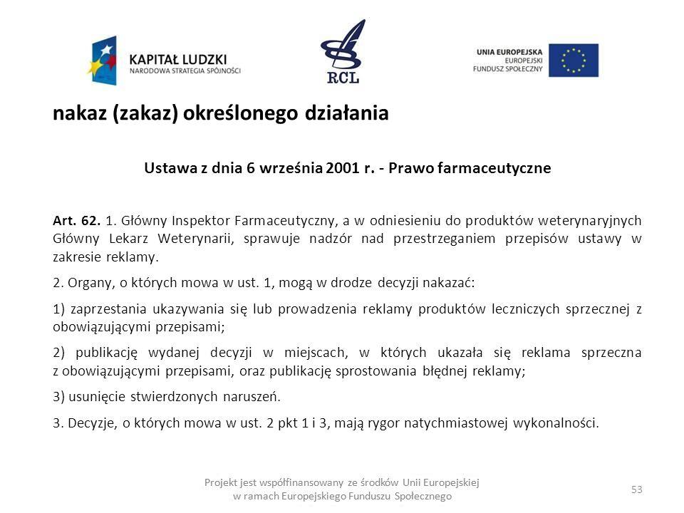 Ustawa z dnia 6 września 2001 r. - Prawo farmaceutyczne