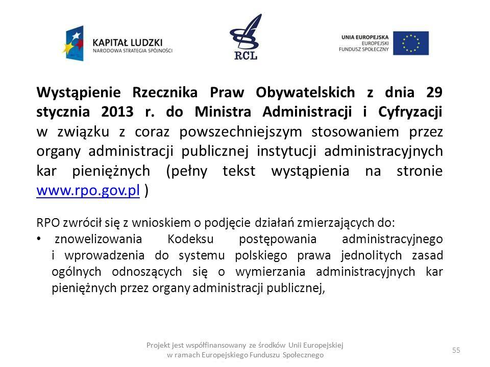 Wystąpienie Rzecznika Praw Obywatelskich z dnia 29 stycznia 2013 r