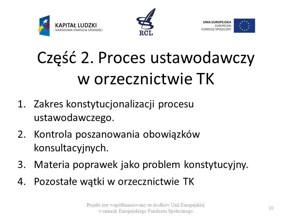 Część 2. Proces ustawodawczy w orzecznictwie TK