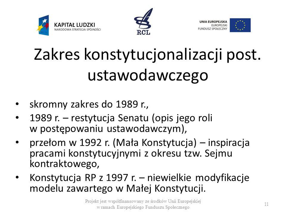 Zakres konstytucjonalizacji post. ustawodawczego