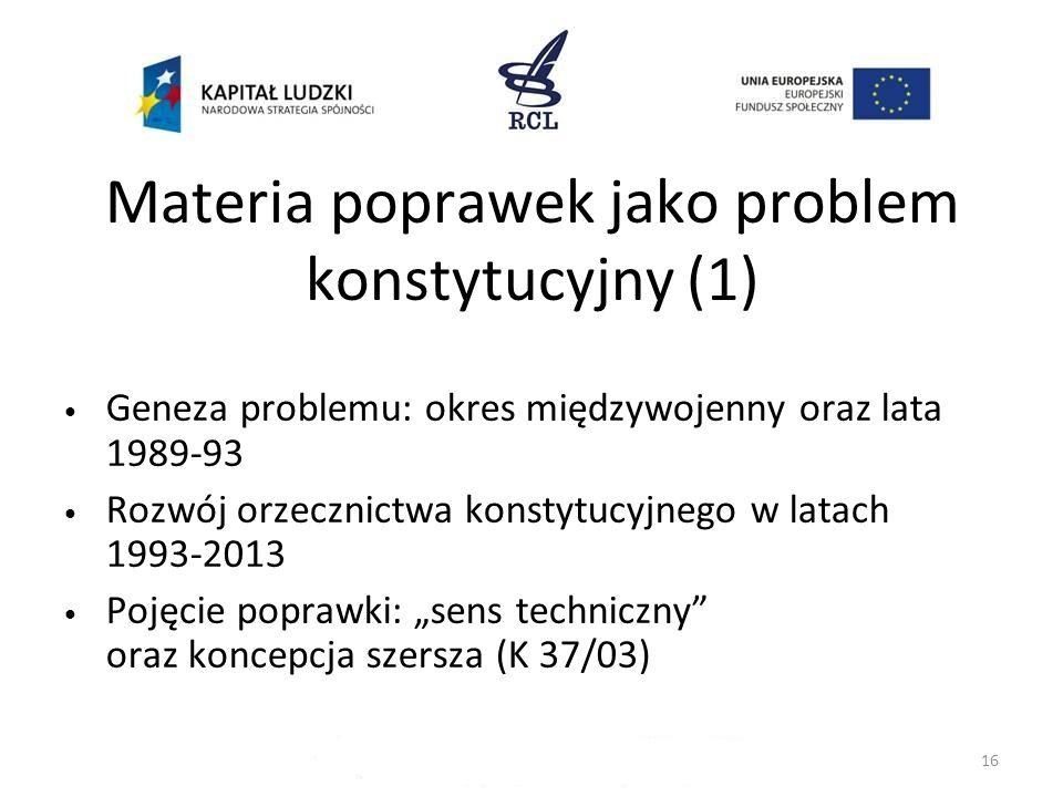 Materia poprawek jako problem konstytucyjny (1)