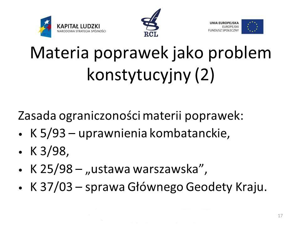 Materia poprawek jako problem konstytucyjny (2)