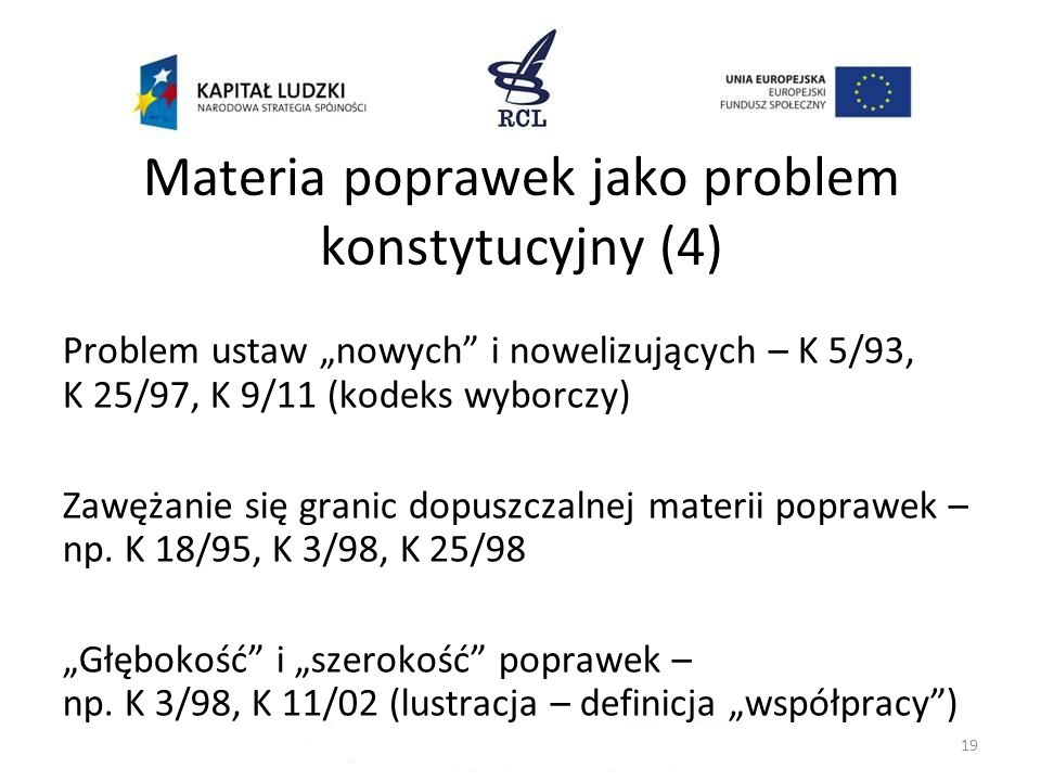 Materia poprawek jako problem konstytucyjny (4)