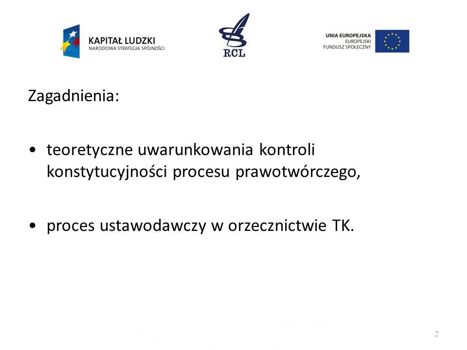 Zagadnienia: teoretyczne uwarunkowania kontroli konstytucyjności procesu prawotwórczego, proces ustawodawczy w orzecznictwie TK.