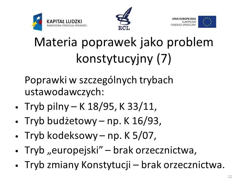 Materia poprawek jako problem konstytucyjny (7)