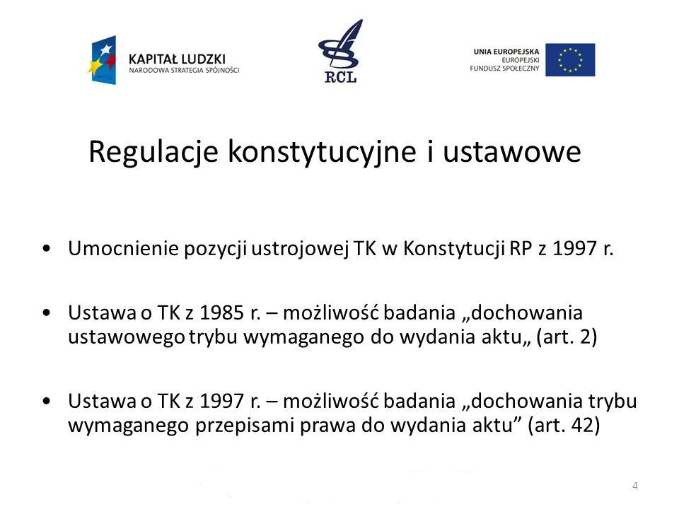 Regulacje konstytucyjne i ustawowe