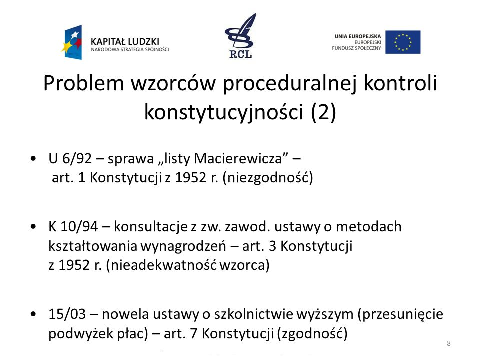Problem wzorców proceduralnej kontroli konstytucyjności (2)