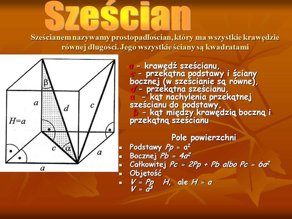 SześcianSześcianem nazywamy prostopadłościan, który ma wszystkie krawędzie równej długości. Jego wszystkie ściany są kwadratami.