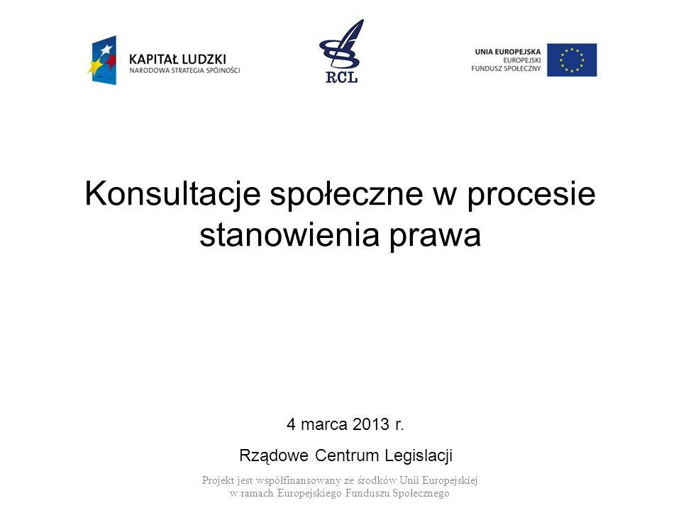 Konsultacje społeczne w procesie stanowienia prawa