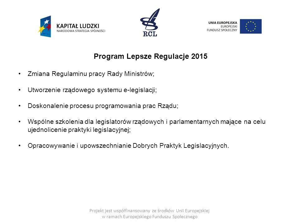 Program Lepsze Regulacje 2015