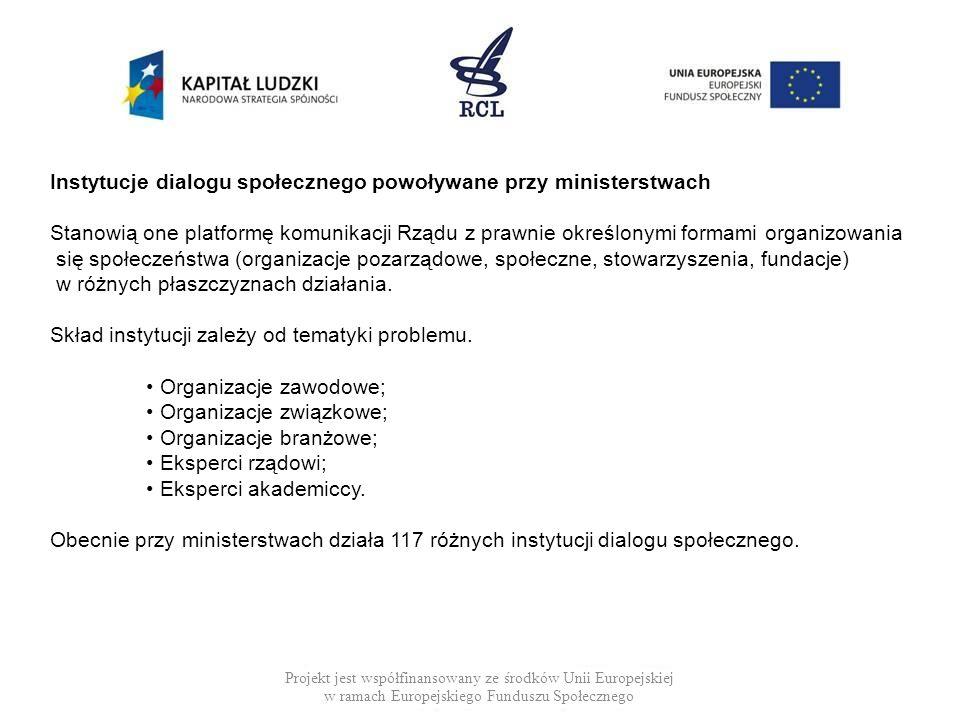 Instytucje dialogu społecznego powoływane przy ministerstwach