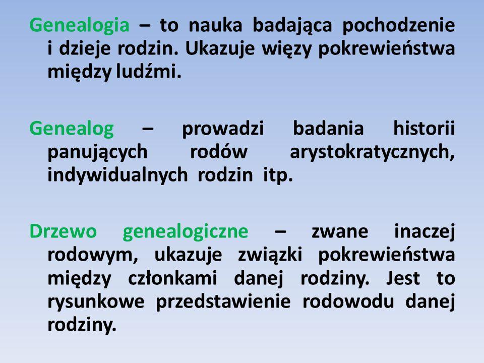 Genealogia – to nauka badająca pochodzenie i dzieje rodzin