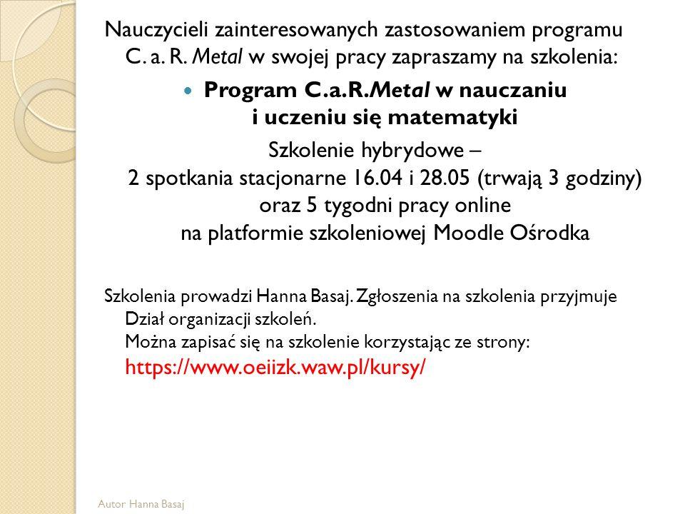 Program C.a.R.Metal w nauczaniu i uczeniu się matematyki