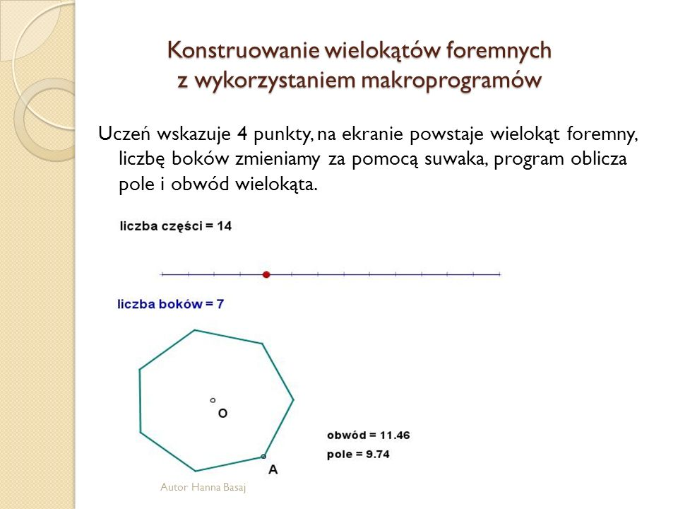 Konstruowanie wielokątów foremnych z wykorzystaniem makroprogramów
