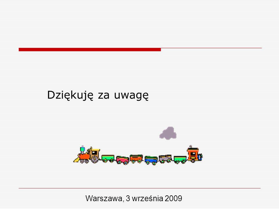 Dziękuję za uwagę Warszawa, 3 września 2009