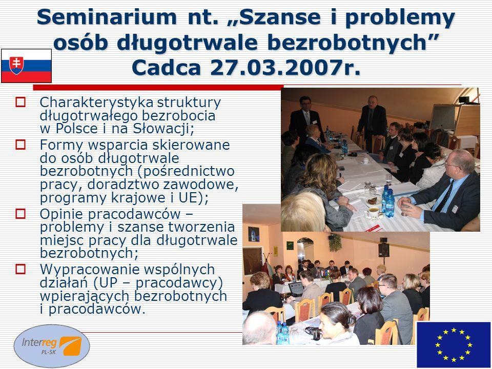 """Seminarium nt. """"Szanse i problemy osób długotrwale bezrobotnych Cadca 27.03.2007r."""