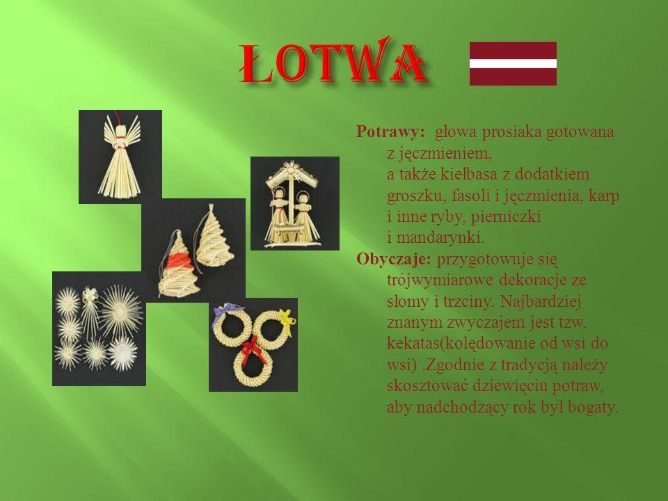 Łotwa Potrawy: głowa prosiaka gotowana z jęczmieniem,