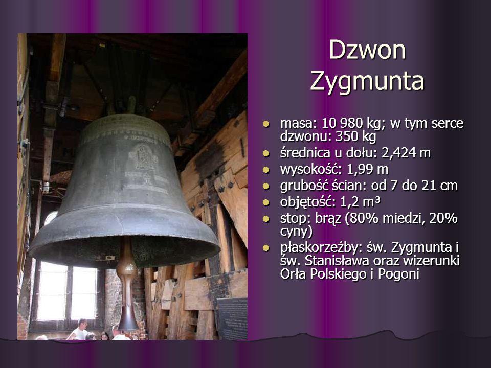 Dzwon Zygmunta masa: 10 980 kg; w tym serce dzwonu: 350 kg