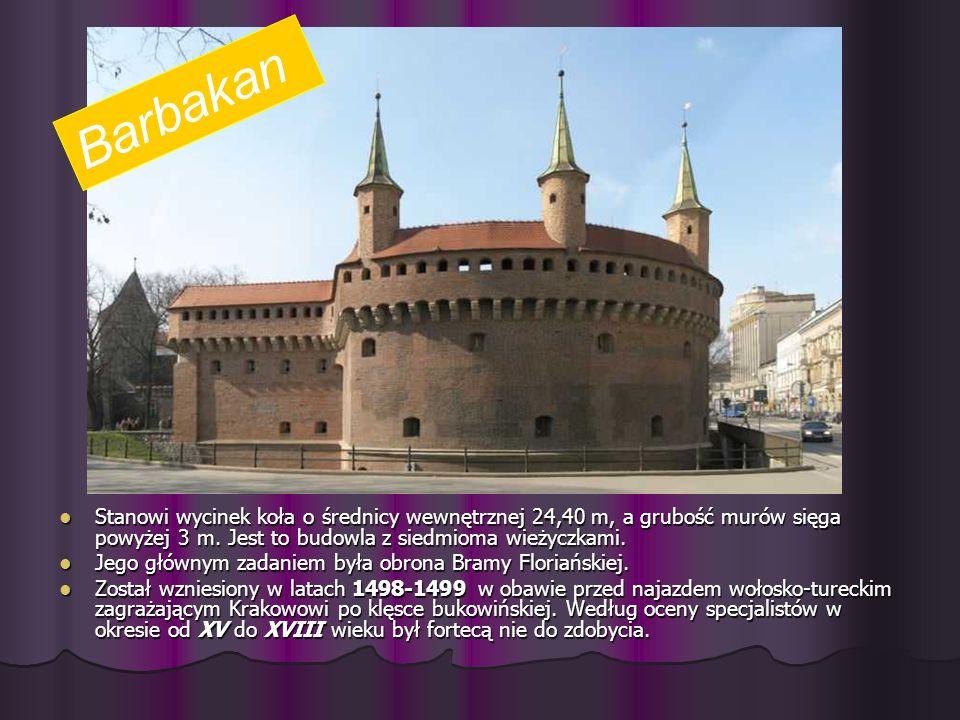 Barbakan Stanowi wycinek koła o średnicy wewnętrznej 24,40 m, a grubość murów sięga powyżej 3 m. Jest to budowla z siedmioma wieżyczkami.