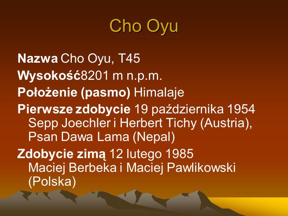 Cho Oyu Nazwa Cho Oyu, T45 Wysokość8201 m n.p.m.