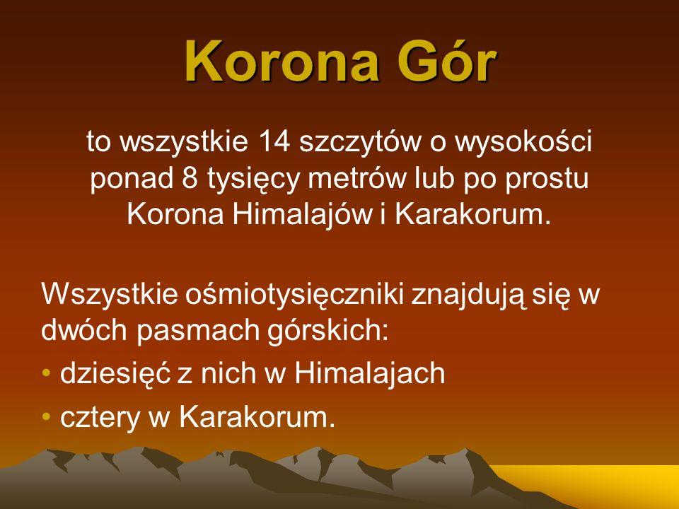 Korona Górto wszystkie 14 szczytów o wysokości ponad 8 tysięcy metrów lub po prostu Korona Himalajów i Karakorum.