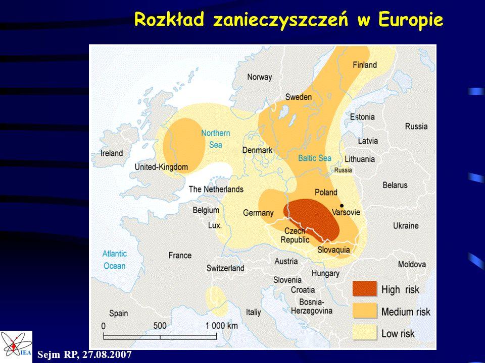 Rozkład zanieczyszczeń w Europie