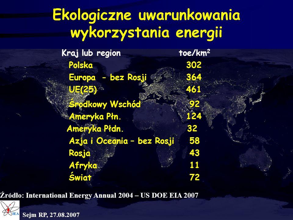 Ekologiczne uwarunkowania wykorzystania energii