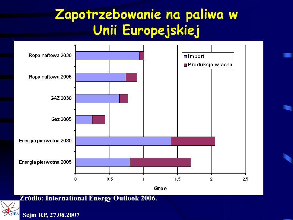 Zapotrzebowanie na paliwa w Unii Europejskiej