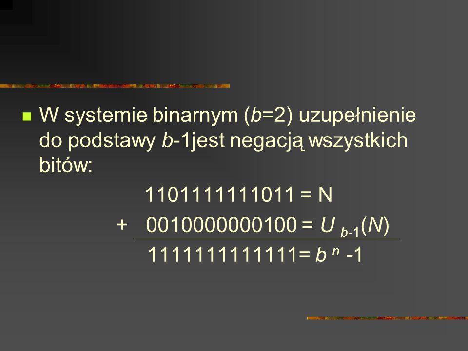 W systemie binarnym (b=2) uzupełnienie do podstawy b-1jest negacją wszystkich bitów: